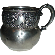 SALE Antique 1901 Woodside Sterling Co. Repousse Sterling Silver Cup