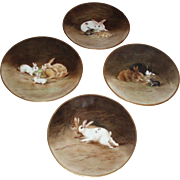 SALE PENDING Incredible Quality Antique French Limoges Porcelain Hand Painted Bunny Charger Pl