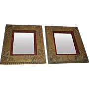 Pair of Ornate Antique Art Nouveau Gilded Gesso Frames