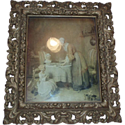 Fine Ornate Antique Gesso Gilded Wood Frame With Old Print