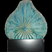 Midcentury Modern Pottery Vase on Display Pedestal