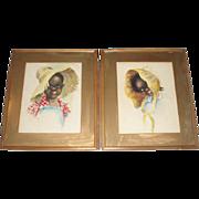 SALE Pair Black Children Folk Art Paintings, Signed Foley