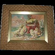 SALE K. Gerhard Antique Chicks Painting