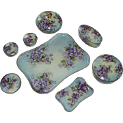 Most Beautiful Antique Hand Painted Violets Limoges Porcelain Dresser Set, 13 Pcs