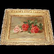 J. Elder Antique Roses Oil Painting in Magnificent Frame
