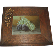 Unique Antique Oak Frame With Gesso Cherries and Fruit Still Life Painting