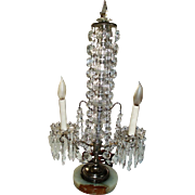 Magnificent Ornate Antique Girandole Table Lamp With Glass Crystals and Hanging Swags, Marble