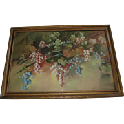 SALE Antique Still Life of Grapes Watercolor Painting