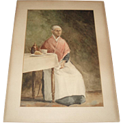 SALE Antique Old Woman Watercolor Painting