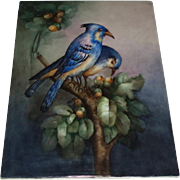Massive Antique French Limoges Porcelain Plaque Painting of Birds