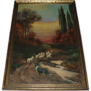 SALE Antique Oil Painting Landscape With Sheep and Dog, Signed
