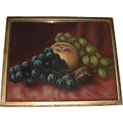 SALE Old Still Life Fruit Pastel Painting, Signed 1908
