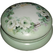 SALE Beautiful Antique French Limoges Porcelain Vanity Jewel Box With White Roses