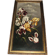 SALE Dramatic Old Still Life Oil Painting of Iris Flowers, Signed