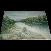 Fine Art, Large Antique French Limoges Porcelain Plaque Landscape With River Signed FH Myers