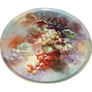 Exquisite Masterpiece Antique French Limoges Porcelain Wall Plaque or Charger Grapes Still Lif