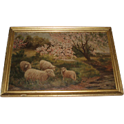 SALE Antique Oil Painting of Sheep, Signed