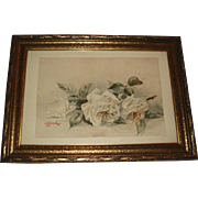 SALE Beautiful Antique White Roses Watercolor Painting Signed Bond