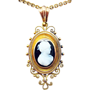14 Karat Genuine Natural Hard Stone Cameo Pendant with Gold Filled Chain
