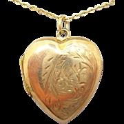 9 Karat Rose Gold Heart Locket with Etched Design