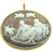 18 Karat Oval Shell Cameo Pin with Figural Scene