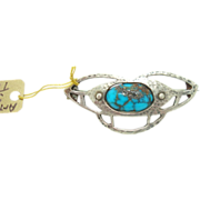 Arts & Crafts Sterling Brooch w Oval Turquoise