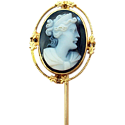 10 Karat Gold Oval Stone Genuine Natural Cameo Stick Pin