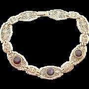 10 Karat Yellow Gold Filigree Bracelet with Three Genuine Natural Garnets