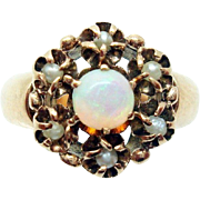 10 Karat Rose Gold Victorian Opal Ring with Seed Pearls