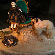Very elegant antique  Borzoi dog for your French fashion doll.