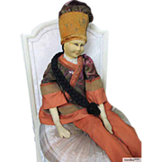 Very rare and beautiful Chinese character sofa doll, a cloth doll, in original state.