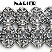 Vintage Napier Silver Tone Wide Silver Bracelet & Earrings Set