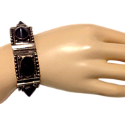 Early 20th Century Iguala Mexican Sterling & Onyx Bracelet