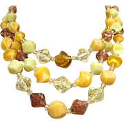 Lucite 3 Strand Necklace Shades Yellow Gold Amber