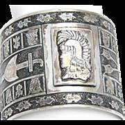 Heraldic Sterling Silver Cuff Bracelet Signed Script L Sterling