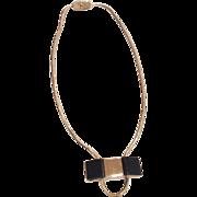 Pierre Cardin Modernist Black Resin Silver Tone Necklace