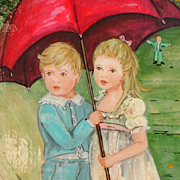 """""""Younger than Springtime"""" by Ann Mexic, Original Framed Acrylic Painting, 1980's vin"""