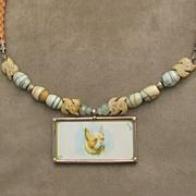 Dog Pendant, Leather, Sterling Silver, Ocean Jasper Necklace