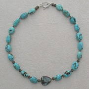 Boulder Opal, turquoise, smoky quartz, sterling silver necklace