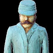 Folk art Confederate Soldier Wood Carving Signed Primitive