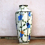 Czech Vase with Blue Bell Decorations