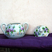 Sugar Bowl with Top Probably Japanese with applied violets