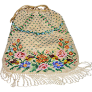 Sparkling Micro White Beaded bag~ Roses Pansies Petunias~1920's  ~TLC ~