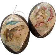 Child portrait~ Egg Candy Container~1890  Rare and Old