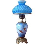 "BACCARACT signed ~French Glass Lamp 23"" Tall ~ with Birds of Happiness Hand Painted again"