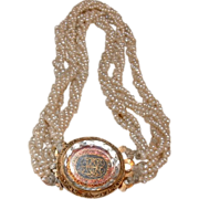 Rare c. 1700 Stuart Crystal and Gold (19K+) Cipher Clasp with Georgian Pearl Bracelet