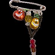 SOLD (Reserved) Funky Whimsical Hand Painted Halloween Pumpkin Beaded Kilt Pin Original Design