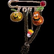 SOLD Reserved Original Mixed Media Halloween Pumpkins Wearable Art Pin Brooch