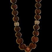 SALE Vintage Necklace - Plum Moonglow Bead Necklace