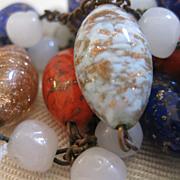 "SALE Venetian Art Glass Bead Necklace - 56"""